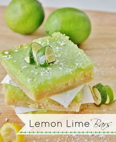 Lemon Lime Bars....perfect for a summer party!  The crust is DELICOUS and there's the perfect combination of lemon and lime!