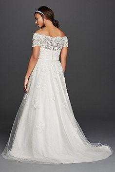 [+2]  Lace Jewel Scalloped Sleeve Plus Size Wedding Dress Style 9WG3728, Soft White