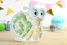 Wooden snail night light for baby HandMade Nursery by HappyMoonLV