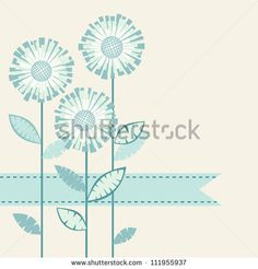 Vector background with stylized flower, leaves and ribbon. Invitation and greeting card with bunch of chrysanthemums. Geometric floral abstr...