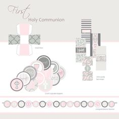 First Communion, Baptism or Confirmation Printable Party - Pink