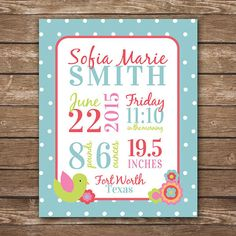 Personalized Baby Birth Stats, Peanut Shell Mila, aqua and pink, baby girl nursery