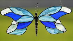 Stained glass blue butterfly suncatcher, stain glass butterflies on Etsy