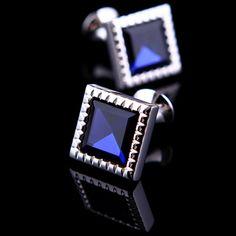 Blue Gemstone Centered Cufflinks