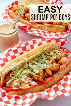 Quick and easy with minimal ingredients this Shrimp Po Boy Recipe can be made in under 30 minutes start to finish, a great quick and easy meal. meals to cook Shrimp Po' Boy Recipe - Tornadough Alli Monte Cristo Sandwich, Reuben Sandwich, Fruit Sandwich, Seafood Recipes, Dinner Recipes, Cooking Recipes, Healthy Recipes, Healthy Food, Healthy Eating