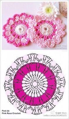 New Crochet Mandala Free Charts 44 Ideas Crochet Circles, Crochet Motifs, Crochet Flower Patterns, Crochet Squares, Crochet Doilies, Crochet Flowers, Crochet Stitches, Granny Squares, Crochet Coaster Pattern