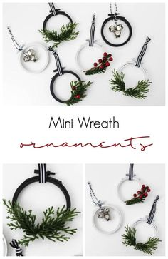 An easy DIY ornament idea for Christmas. These festive holiday wreaths are perfect for your tree, or as gifts for friends and family. Love that these would look perfect with any decor style: modern, rustic, farmhouse, you name it! #Christmas #modern #ornament #DIY #modernholiday #spraypaint