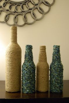 bottles for vases!  Mom loved this idea.  Beer and soda bottles can be wrapped in scrap yarn to make these unique and cool vases.  Change up the color as you go and make your own designs.