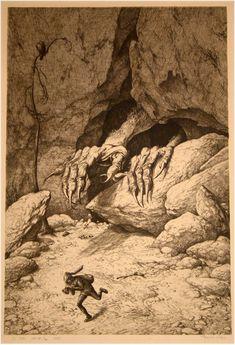 red-lipstick:Louis Moe (Norwegian-Danish, 1857-1945) - Opus 107, Tax Miners aka Tax Gravedigger (Opus 107 Skattegraverne), 1925 Etching