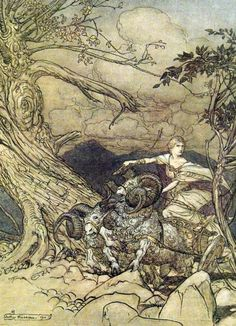The Rhinegold & The Valkyrie' by Richard Wagner; with illustrations by Arthur Rackham ; translated by Margaret Armour. Published 1910 by William Heinemann Norse Mythology Goddesses, Norse Goddess, Gods And Goddesses, Arthur Rackham, Richard Wagner, Westminster, Classic Fairy Tales, Ecole Art, Asatru