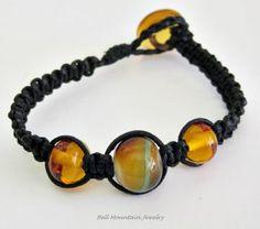 Macrame Bracelet Lampwork Beads Amber Glass SRA