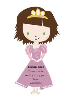 Here is the matching thank you note! I love the brunette Rapunzel, just like at the end of the movie.