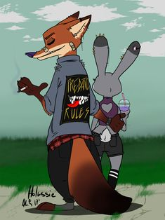Predators' Rules by Holmssie.deviantart.com on @DeviantArt #badass #nick #wilde #judy #hopps #zootopia #fanart once more the punk style