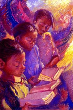 Girls Reading, Ellen Dreibelbis.  Feels just that colorful, doesn't it?--being in a book?