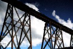 Sky Train by Claude Charbonneau on Railroad Bridge, Utility Pole, Train, Sky, Water, Photography, Heaven, Gripe Water, Photograph
