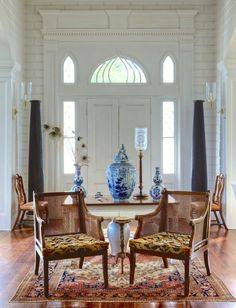 The Exceptional Interior Designer You've Never Heard Of - laurel home | Furlow Gatewood | gorgeous entrance with blue and white Chinoiserie porcelains | photo by Rod Collins