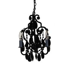 This Three Light Bulb Faux Crystal Chandelier in Black Onyx is a beautiful mini-chandelier for your little girl's room. Chandelier has glass and acrylic beads and dangles. It uses three candelabra bulbs which are included. Chandelier Bedroom, Black Chandelier, Chandelier Lighting, Loft Lighting, Hanging Chandelier, Crystal Chandeliers, Contemporary Chandelier, Beaded Chandelier, Kids Lighting