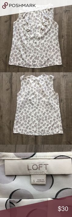 """Ann Taylor LOFT Polka Dot Sleeveless Blouse Ann Taylor LOFT Polka Dot Pleated/Ruffle Front Sleeveless Top Size: Small Color: Off white with gray/black polka dots  Condition: Excellent Used Condition Approximate Measurements (laying flat): Bust 18""""; Length 23.5""""  Features a pleated ruffle front. LOFT Tops Tank Tops"""
