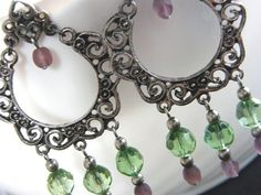 Green Purple and Antique Silver Earrings  A Perfect by LauraBijoux