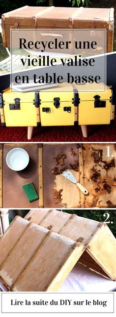 DIY recycling an old suitcase in coffee table - Before After Furniture, Old Suitcases, Vintage Luggage, Tropical Style, Diy Recycle, Upcycled Furniture, Diy Kits, Deco Table, Furniture Makeover