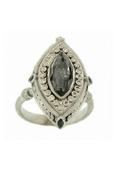 Emily Armenta Marquis Hermatite New World Ring With Diamonds, $945, available at YLang 23.