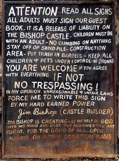 Bishop Castle sign Bishops Castle Colorado, Bishop Castle, Pueblo Colorado, Road Trip To Colorado, Interesting Information, Queen, Bar Ideas, Determination, Art Supplies