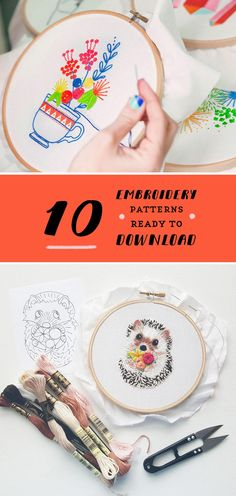 Modern hand embroidery patterns to download // PDF embroidery patterns