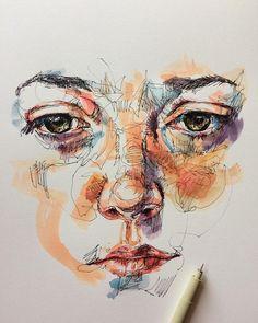 "5,428 Me gusta, 33 comentarios - (@noelbadgespugh) en Instagram: ""ink & watercolor"""