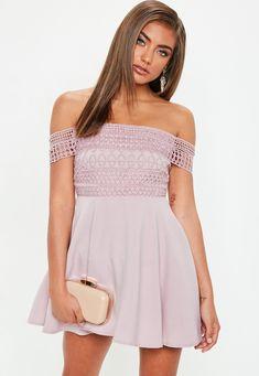 Missguided Petite Pink Lace Strap Bardot Skater Dress 3720998e7cc6