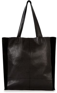 Warehouse Suede & Leather Unlined Shopper