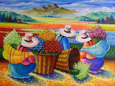 Arte Latina, Peruvian Art, Peruvian Women, Art Africain, Naive Art, Mexican Art, Art Pictures, Folk Art, Modern Art