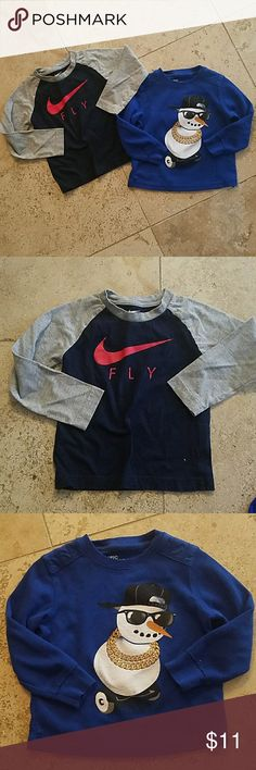 "3T Long Sleeve Boys Bundle Gray and navy blue Nike ""FLY"" t-shirt is 100% cotton and very lightweight. Pairs perfectly with jeans for fall and winter!  Worn a handful of times and shows no signs of wear.   Royal blue cool snowman thermal is toasty and 60% cotton, 40% polyester. Brand is Epic Threads and it was worn once. Shirts & Tops Tees - Long Sleeve"