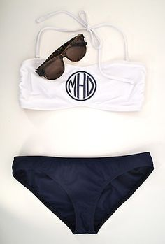 A navy + white bathing suit with my monogram on it... so basically this was made for me right?