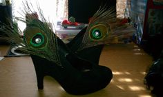 """Shoes I decorated for my """"Peacock Showgirl"""" Halloween Costume 2011"""