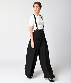 56a4ca1c1728 Frolic and play in a fun retro style when you wear these stylish black wide-leg  pants from Unique Vintage with adjustable