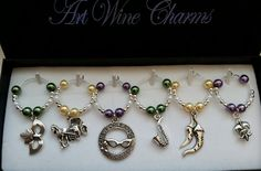 6 New Orleans (1) themed Wine Charms, Louisiana, Mardi Gras, New Orleans, Decorations, Theme Party, Wedding, Fleur de Lis, Party Favors, by PickinsGalore on Etsy