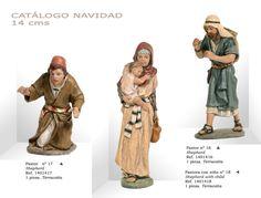PASTORES Nº17 y Nº16, PASTORA CON NIÑO Nº18. Figuras de belén/pesebre, de terracota policromada, de 14 cm. Autor José Luis Mayo Lebrija.