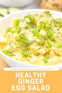 This Egg Salad is popping with spicy ginger flavor. It's delicious - light, creamy and easy to make. It's perfect in a sandwich or as party food served with veggies or chips. ---- #salad #saladrecipe #easyrecipe #healthy #healthysalad #lunch #eggsalad #sandwich #egg #ginger Best Salad Recipes, Fruit Salad Recipes, Chicken Salad Recipes, Pasta Recipes, Real Food Recipes, Healthy Recipes, Egg Recipes, Kitchen Recipes, Potato Recipes