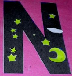 Letter N - N is for Night (decorate with santa hat)