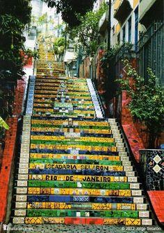 An artist wanted a stunning staircase. Escadaria Selarón, Rio de Janeiro, Brazil. #travel #extraordinary