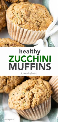 The Best Healthy Zucchini Muffins: Soft 'n moist zucchini muffins that are buttery, perfectly sweet and made with healthy ingredients. The best zucchini muffin recipe! #Healthy #Zucchini #Muffins #Recipe   Recipe at BeamingBaker.com Gluten Free Zucchini Muffins, Zucchini Muffin Recipes, Vegan Gluten Free Desserts, Healthy Muffin Recipes, Coconut Desserts, Healthy Muffins, Healthy Dessert Recipes, Dessert Food, Vegan Treats