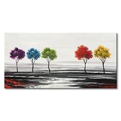 Handmade Colorful Tree Oil Painting on Canvas Modern Abstract Landscape Wall Art Decor Artwork Hand Painting Art, Online Painting, Oil Painting On Canvas, Artwork Paintings, Abstract Wall Art, Abstract Landscape, Canvas Wall Art, World Map Canvas, World Map Wall Art