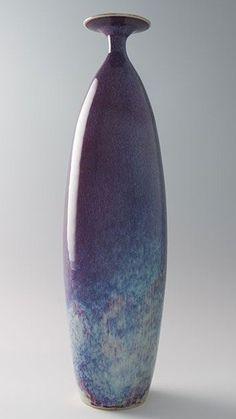 Brother Thomas tall narrow vase, copper purple glaze, porcelain