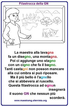 Filastrocca-della GN Italian Language School, Italian Grammar, Learning Italian, Home Schooling, Primary School, Nursery Rhymes, Second Grade, Back To School, Homeschool