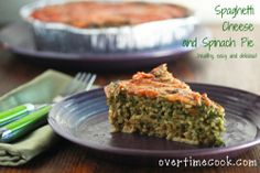 Spaghetti Cheese and Spinach Pie