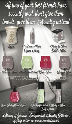 Newlywed Gifts.  To purchase current catalog products, please visit http://aprillrene.scentsy.us or contact me today with any questions you may have at aprillroberts1991@gmail.com. THANK YOU!!!