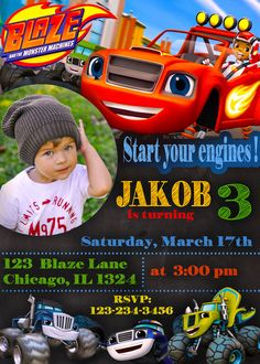 Blaze and the Monster Machines Invitation Blaze and by NakiParty Blaze Monster Machine, Blaze And The Monster Machines Party, Festa Monster Truck, Monster Truck Birthday, 4th Birthday Parties, Birthday Fun, Birthday Ideas, Bolo Blaze, Party Ideas