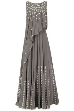 Seema Thukral presents Grey embroidered attached dupatta anarkali available only at Pernia's Pop Up Shop. Indian Designer Outfits, Indian Outfits, Designer Dresses, Kaftan Designs, Blouse Designs, Indian Gowns Dresses, Evening Dresses, Stylish Dresses, Fashion Dresses