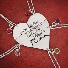 Sawed by hand, this 5 piece heart puzzle necklace set is perfect for friends or family far away from each other. Hung with genuine Swarovski crystal birthstones, this gift is truly meaningful. Custom engraving welcome! Dog Jewelry, Animal Jewelry, Custom Jewelry, Unique Jewelry, Bff Necklaces, Best Friend Necklaces, Friendship Necklaces, Friendship Gifts, Hand Engraving