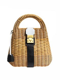 Wicker Purses - MARK CROSS rattan-and-leather bag